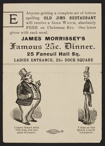 Trade card for Old Jims Restaurant, 25 Faneuil Hall Square, 25a Dock Square, Boston, Mass., undated