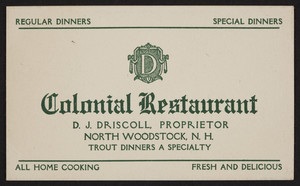 Trade card for the Colonial Restaurant, home cooking, North Woodstock, New Hampshire, undated
