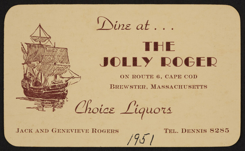Trade card for The Jolly Roger Restaurant, Route 6, Cape Cod, Brewster, Mass., 1951