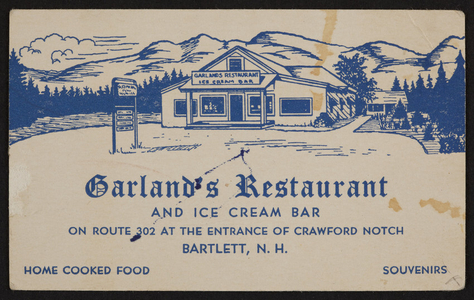 Trade card for Garland's Restaurant and Ice Cream Bar, Route 302, Bartlett, New Hampshire, undated