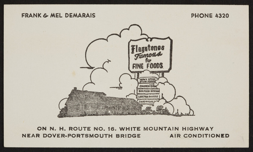 Trade card for Flagstones, famous for fine foods, Route No.16, White Mountain Highway, New Hampshire, undated