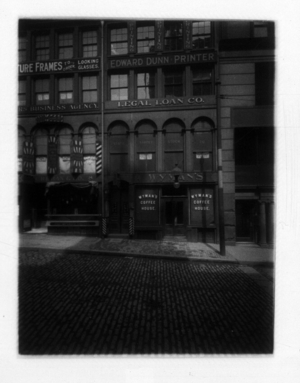 View of commercial building housing Wyman's Coffee House, Legal Loan Co., and Edward Dunn Printer, State Street, Boston, Mass., undated