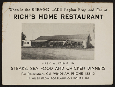 Trade card for Rich's Home Restaurant, Route 302, Portland, Maine, undated