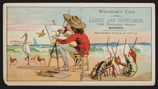Trade card for Woodbury's Cafe For Ladies and Gentleman, 196 Tremont Street, Boston, Mass., undated