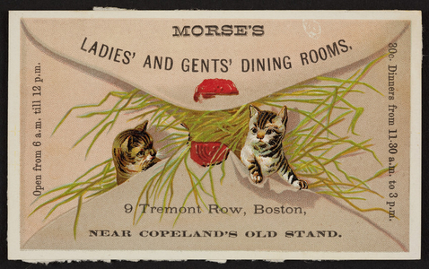Morse's Ladies' and Gents' Dining Rooms, 9 Tremont Row, Boston, Mass., undated