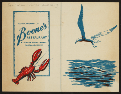 Brochure for Boone's Restaurant, 6 Custom House Wharf, Portland, Maine, undated
