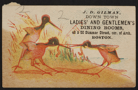 Trade card for Down Town Ladies' and Gentlemen's Dining Rooms, 48 & 50 Summer Street, corner of Arch, Boston, Mass., undated