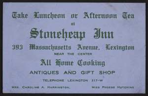 Trade card for the Stoneheap Inn, restaurant, 383 Massachusetts Avenue, Lexington, Mass., undated
