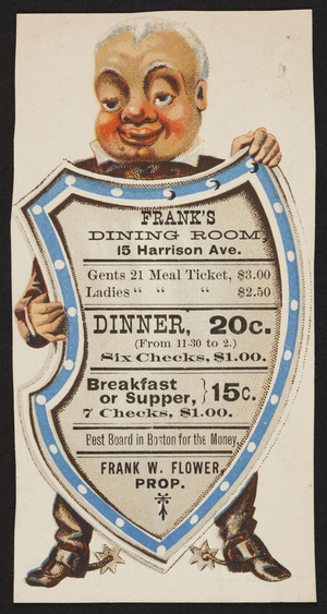 Trade card for Frank's Dining Room, Frank W. Flower, 15 Harrison Avenue, Boston, Mass., undated