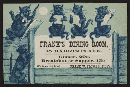 Trade card for Frank's Dining Room, Frank W. Flower, 15 Harrison Ave, Boston, Mass., 1881