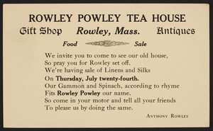 Postcard for the Rowley Powley Tea House, gift shop, antiques, Anthony Rowley, Rowley, Mass., 1924