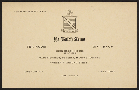 Trade card for John Balch House, tea room, gift shop, Cabot Street, Beverly, Mass., undated