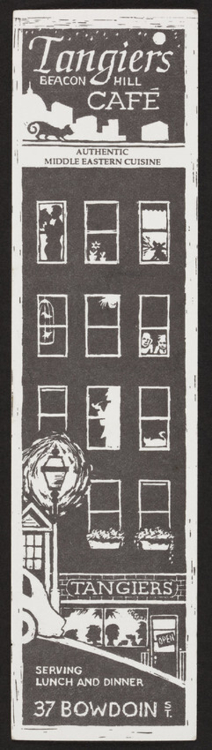 Bookmark for the Tangiers Beacon Hill Café, 37 Bowdoin Street, Boston, Mass., 1990