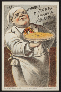 Trade card for Atmore's mince meat and genuine English Plum Pudding, Atmore & Son, location unknown, 1877