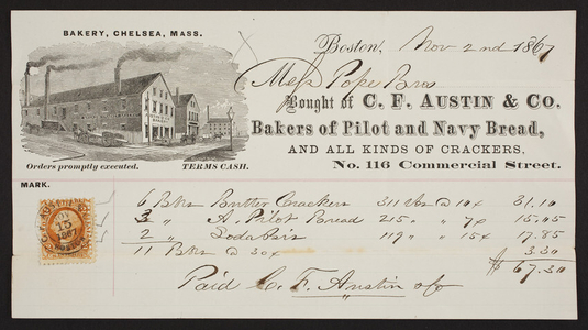 Billhead for C.F. Austin & Co., bakers of pilot and navy bread, No. 116 Commercial Street, Boston, Mass., dated November 2, 1867