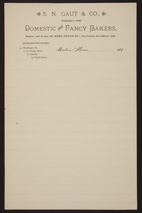 letterhead for s n gaut co domestic and fancy bakers 90 west