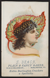 Trade card for S. Beach, plain & fancy baker, 198 & 202 College Street, Burlington, Vermont, undated