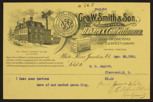 Billhead for Geo. W. Smith & Son, manufacturing bakers & confectioners, White River Junction, Vermont, dated April 22, 1902