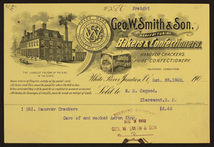 Billhead for Geo. W. Smith & Son, manufacturing bakers & confectioners, White River Junction, Vermont, dated Octotber 28, 1902