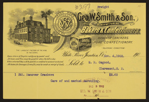 Billhead for Geo. W. Smith & Son, manufacturing bakers & confectioners, White River Junction, Vermont, dated November 4, 1902