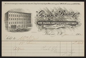 Billhead for Gurnsey Bro's. & Co., manufacturers of Keene Crackers, fancy biscuits & confectionery, Keene, New Hampshire, dated June 13, 1902