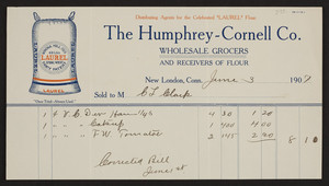 Billhead for The Humphrey-Cornell Co., wholesale grocers and receivers of flour, New London, Connecticut, dated June 3, 1907