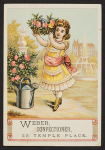 Trade card for Weber, confectioner, 25 Temple Place, Boston, Mass., undated