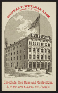 Trade card for Stephen F. Whitman & Son, chocolate, bon bons and confections, south west corner 12th & Market Streets, Philadelphia, Pennsylvania, undated