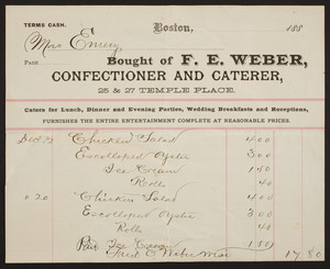 Billhead for F.E. Weber, confectioner and caterer, 25 & 27 Temple Place, Boston, Mass., 1880s