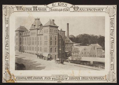 Handbill for Walter Baker & Co's Manufactory, chocolate, cocoa and broma preparations, Dorchester, Mass., undated