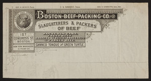 Billhead for Boston Beef Packing Co., slaughterers & packers of beef, 187 Congress Street, Boston, Mass. and 15 Front Street, New York, New York, undated