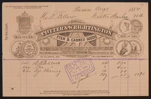 Billhead for Potter & Wrightington, fish & canned goods, 197 Atlantic Ave, 118 to 128 Commerce Street, Boston, Mass., dated August 9, 1884