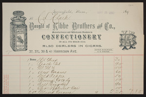 Billhead for Kibbe Brothers and Co., manufacturers and wholesale dealers in confectionery, 33, 37 1/2, 39 & 41 Harrison Avenure, Springfield, Mass., dated May 28, 1892