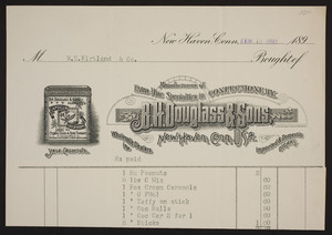 Billhead for B.H. Douglass & Sons, manufacturers of extra fine specialties in confectionery, New Haven, Connecticut, dated February 18, 1890