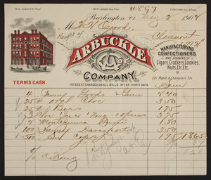 Billhead for the Arbuckle Company, manufacturing confectioners, corner of Maple & Champlain Streets, Burlington, Vermont, dated May 2, 1902