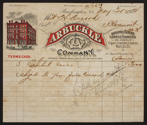 Billhead for the Arbuckle Company, manufacturing confectioners, corner of Maple & Champlain Streets, Burlington, Vermont, dated May 30, 1902