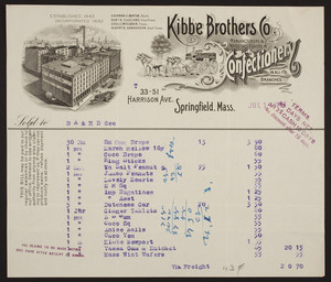 Billhead for Kibbe Brothers Co., manufacturers & wholesale dealers in confectionery, 33-51 Harrison Avenue, Springfield, Mass., dated Juy 11, 1914