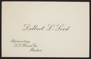 Business card for Delbert L. Lord, S.S. Pierce Co., Boston, Mass., undated