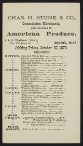 Price list for Chas H. Stone & Co., American produce, 8 & 9 Chatham Row, Boston, Mass., October 20, 1879