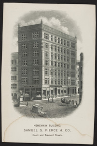 Trade card for Samuel S. Pierce & Co., Hemenway Building, Court and Tremont Streets, Boston, Mass., undated
