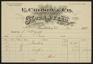 Billhead for E. Crosby & Co., wholesale commission dealers in flour & feed, Brattleboro, Vermont, dated September 29, 1900