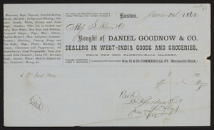 Billhead for Daniel Goodnow & Co., dealers in West-India goods and groceries, Nos. 91 & 93 Commercial Street, Mercantile Block, Boston, Mass., dated June 24, 1862