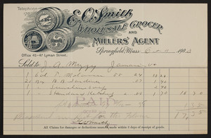 Billhead for E.O. Smith, wholesale grocer and millers' agent, 45-47 Lyman Street, Springfield, Mass., dated October 11, 1900