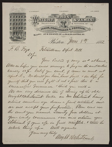 Letterhead for Wright Bros. & James, flour, provisions & produce, 217 & 219 State Street and 114 & 116 Central Street, Boston, Mass., dated June 8, 1882