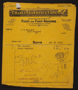 Billheads for the Charles Lawrence Company, importers and jobbers in fruits and fancy groceries, 111 to 115 Commercial Street, Boston, Mass., dated May-June, 1915