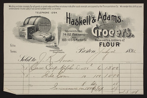 Billhead for Haskell & Adams, grocers, receivers & jobbers of flour, 74-112 Commerce and 103-105 South Market Street, Boston, Mass., dated July 2, 1892