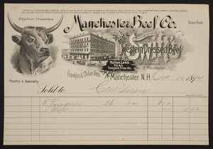 Billhead for the Manchester Beef Co., commission merchants in Swift's Western Dressed Beef, mutton lamb, veal tongues, tripe, Franklin & Cedar Streets, Manchester, New Hampshire, dated October 10, 1894