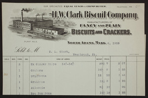 Billhead for the H.W. Clark Biscuit Company, manufacturers of fancy and plain biscuits and crackers, North Adams, Mass., dated November 6, 1909