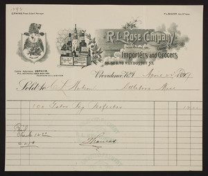 Billhead for R.L. Rose Company, importers and grocers, 66, 68, & 70 Weybosset Street, Providence, Rhode Island, dated April 22, 1899