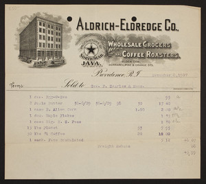 Billhead for Aldrich-Eldredge Co., wholesale grocers and coffee roasters, Block Corner, Dorrance, Pine & Orange Streets, Providence, Rhode Island, dated November 8, 1907